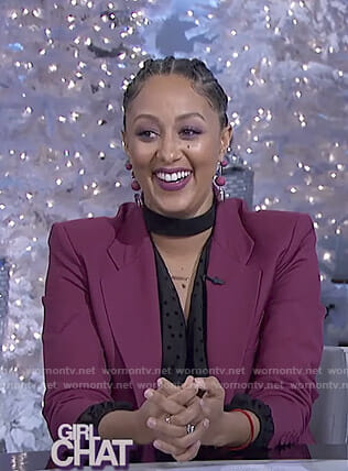 Tamera's black choker neck top and purple suit on The Real