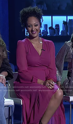 Tamera's pink ruffled wrap dress on The Real