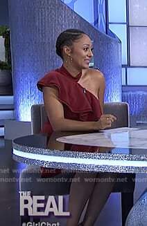 Tamera's red one off-shoulder ruffled dress on The Real
