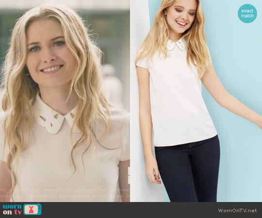Embroidered collared top by Ted Baker worn by Virginia Gardner on Marvels Runaways