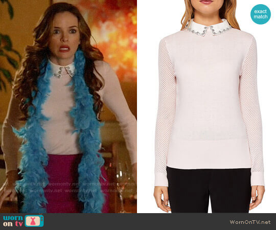 Ted Baker Braydey Embellished Collar Sweater worn by Danielle Panabaker on The Flash