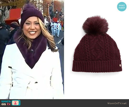 Cable Knit Faux Fur Pompom Beanie by Ted Baker worn by Ginger Zee  on Good Morning America