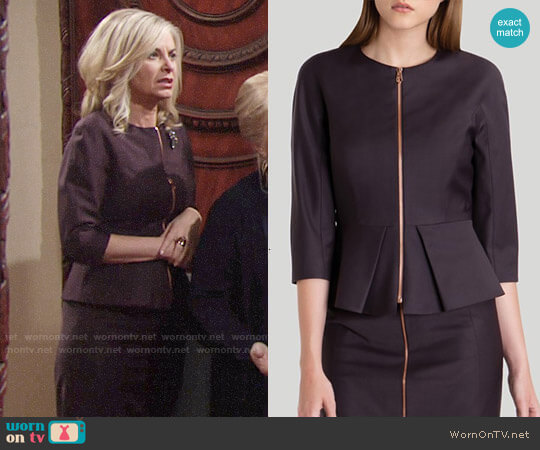 Ted Baker Eben Suit Jacket in Grape worn by Ashley Abbott (Eileen Davidson) on The Young & the Restless