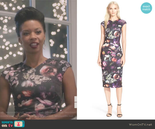 Floral Print Body-Con Midi Dress Ted Baker worn by Catherine Wilder (Angel Parker) on Marvels Runaways