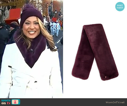 Softy Faux Fur Long Scarf by Ted Baker worn by Ginger Zee  on Good Morning America