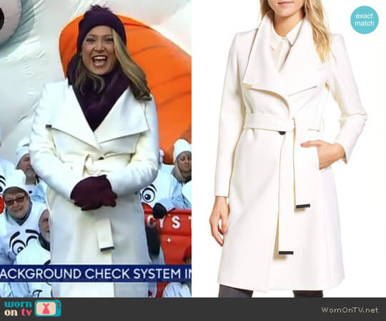Wool Blend Long Wrap Coat by Ted Baker worn by Ginger Zee  on Good Morning America