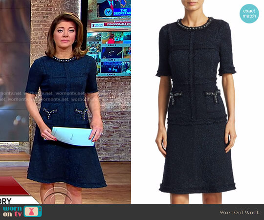 Short Sleeve Tailored Sheath Dress by Rickie Freeman for Teri Jon worn by Norah O'Donnell  on CBS This Morning