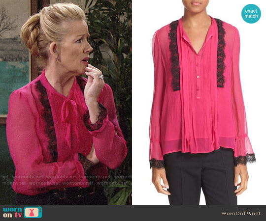 The Kooples Lace Trim Silk Blouse worn by Melody Thomas-Scott on The Young & the Restless