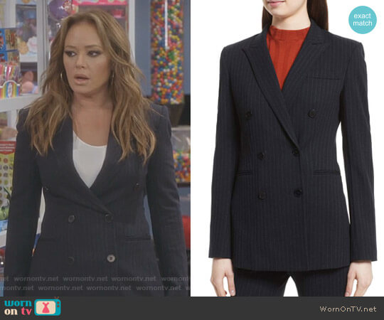 Pinstripe Power Blazer by Theory worn by Leah Remini on Kevin Can Wait