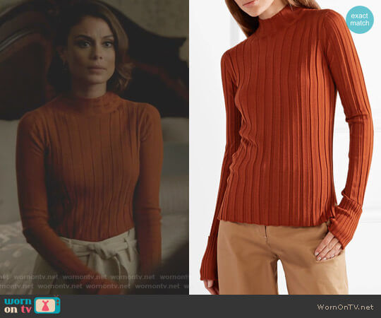 Ribbed Turtleneck Sweater by Theory worn by Nathalie Kelley on Dynasty