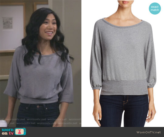 Cropped Sweater by Three Dots worn by Liza Lapira on 9JKL