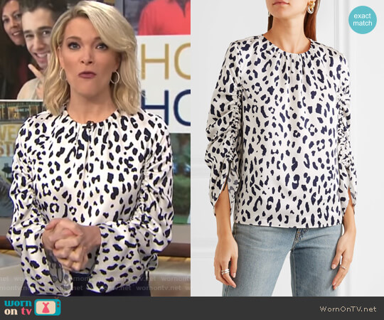 Leopard-print silk-satin blouse by Tibi worn by Megyn Kelly on Today