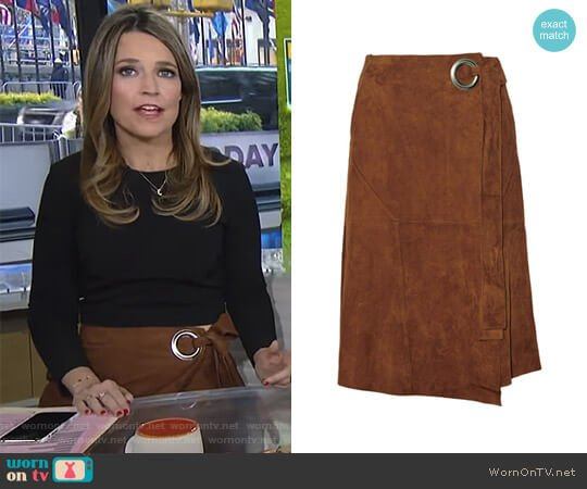 Suede Wrap Skirt by Tibi worn by Savannah Guthrie on Today