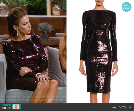 Sequined Zip-Trim Scoop-Back Long-Sleeve Dress by Tom Ford worn by Peggy Sulahian  on The Real Housewives of Orange County