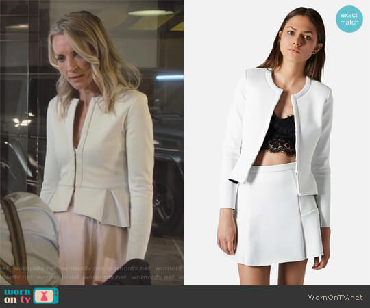 Bonded Peplum Jacket by Topshop worn by Ever Carradine on Marvels Runaways