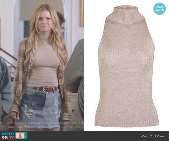 Sleeveless Metal Yarn High Neck Knitted Top by Topshop worn by Virginia Gardner on Marvels Runaways