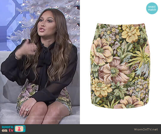 Tapestry High Waisted Mini Skirt by Topshop worn by Adrienne Houghton on The Real