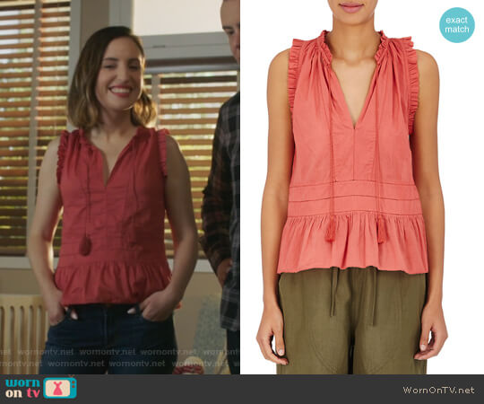 Cosette Sleeveless Blouse by Ulla Johnson worn by Jennifer Short (Zoe Lister-Jones) on Life in Pieces