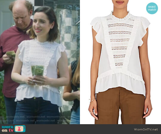 Lois Embellished Silk Peplum Top by Ulla Johnson worn by Jennifer Short (Zoe Lister-Jones) on Life in Pieces
