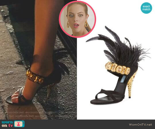 Jeweled Feather-Trim Satin Sandals by Prada worn by Fallon Carrington (Elizabeth Gillies) on Dynasty