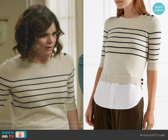 Knot cotton-paneled striped silk and cashmere-blend top by Veronica Beard worn by Betsy Brandt on Life in Pieces