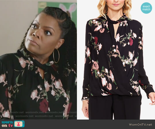 Windswept Bouquet Printed Wrap Top by Vince Camuto worn by Yvette Nicole Brown on The Mayor