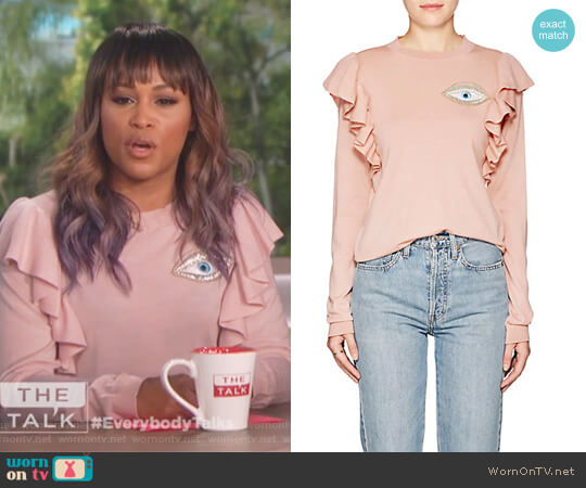 Port Augusta Eye-Embellished Wool Sweater by Vivetta worn by Eve on The Talk