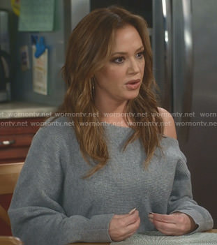 Vanessa's grey one off-shoulder sweater on Kevin Can Wait