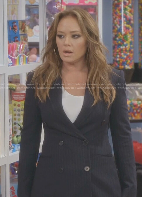 Vanessa's pinstripe double breasted blazer on Kevin Can Wait