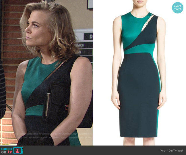 Versace Collection Staple Detail Cutout Dress worn by Phyllis Newman (Gina Tognoni) on The Young & the Restless