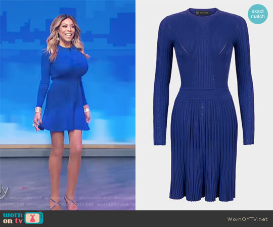 Multi-Stitch Flare Knit Dress by Versace worn by Wendy Williams  on The Wendy Williams Show