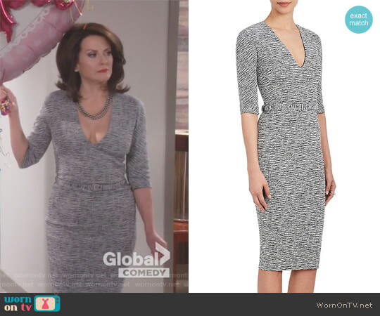 Cotton-Blend Belted Sheath Dress by Victoria Beckham worn by Karen Walker (Megan Mullally) on Will & Grace
