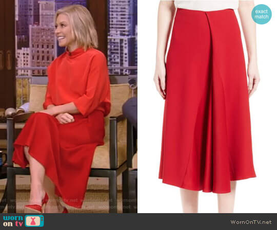 Satin Crepe Godet Skirt by Victoria Beckham worn by Kelly Ripa  on Live with Kelly & Ryan
