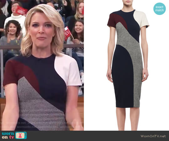 Short-Sleeve Patchwork Sheath Dress by Victoria Beckham worn by Megyn Kelly on Today