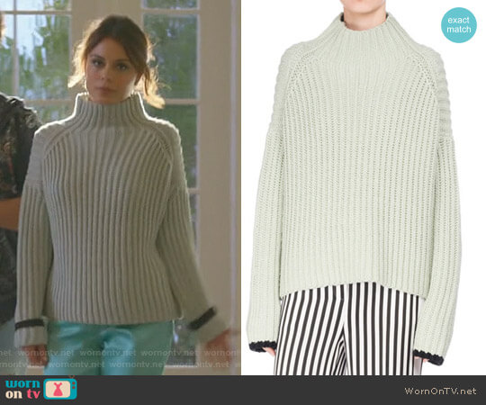 Wide-Ribbed Funnel-Neck Sweater by Victoria Beckham worn by Nathalie Kelley on Dynasty