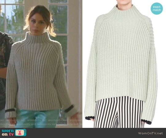 Wide-Ribbed Funnel-Neck Sweater by Victoria Beckham worn by Cristal Flores (Nathalie Kelley) on Dynasty