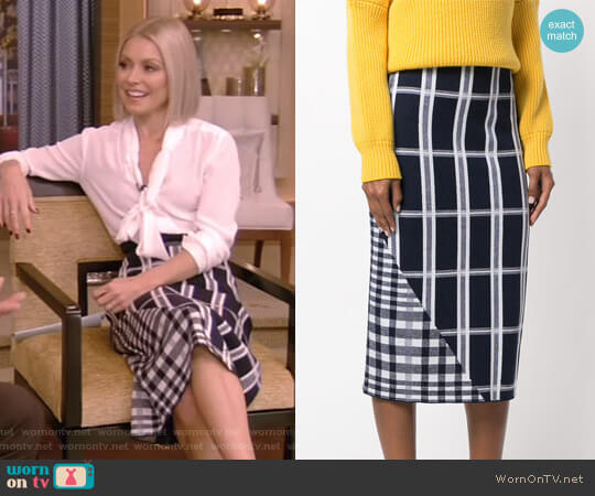 Tartan Signature Skirt by Victoria Beckham worn by Kelly Ripa  on Live with Kelly & Ryan