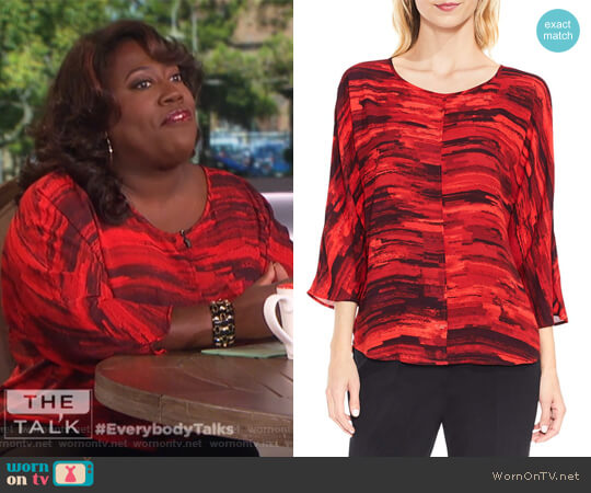 Muses Print Dolman Sleeve Blouse by Vince Camuto worn by Sheryl Underwood (Sheryl Underwood) on The Talk