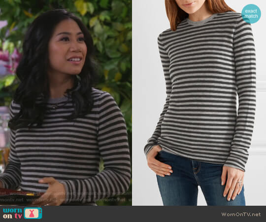 Striped cashmere sweater by Vince worn by Eve Roberts (Liza Lapira) on 9JKL