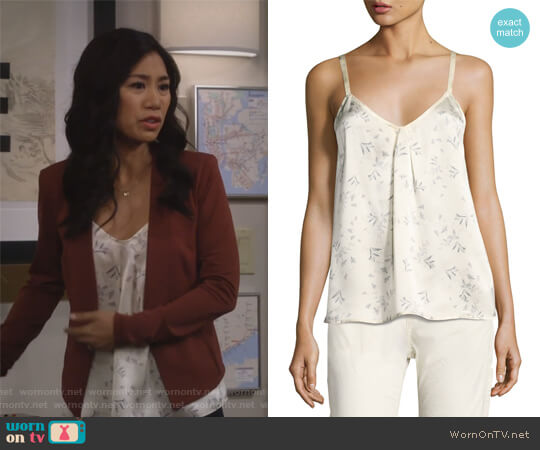Two-Tone Floral-Print Silk Camisole Top by Vince worn by Eve Roberts (Liza Lapira) on 9JKL