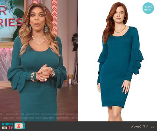 Ruffle-Sleeve Scoop-Neck Dress by Wendy Williams HSN Collection worn by Wendy Williams on The Wendy Williams Show