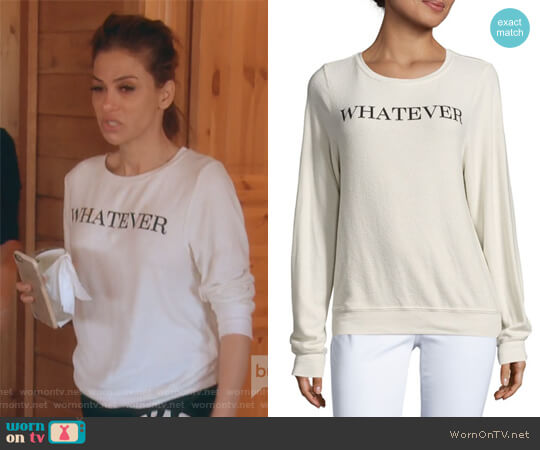 Solid Letter-Print Sweatshirt by Wildfox worn by Peggy Sulahian (Peggy Sulahian) on The Real Housewives of Orange County