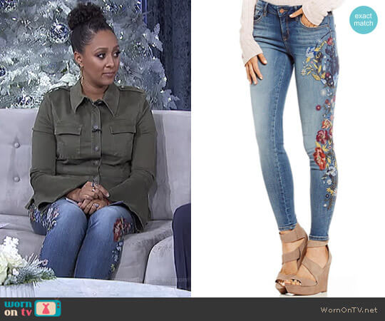 Embroidered Perfect Skinny Jeans by William Rast worn by Tamera Mowry on The Real