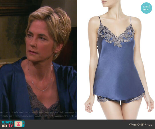 Maison Blue Silk Satin Top by La Perla worn by Eve Donovan (Kassie DePaiva) on Days of our Lives