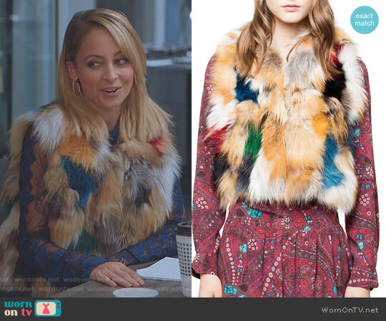 Deluxe Fee Fox Fur Patchwork Bolero by Zadig & Voltaire worn by Portia Scott-Griffith (Nicole Richie) on Great News