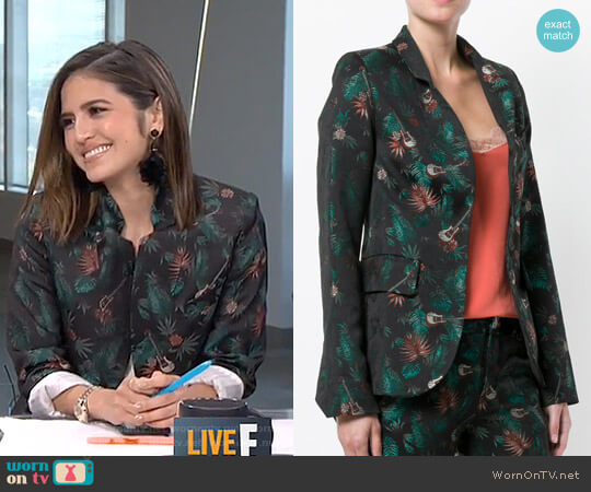 Guitar and Jungle Print Blazer by Zadig & Voltaire worn by Erin Lim on E! News