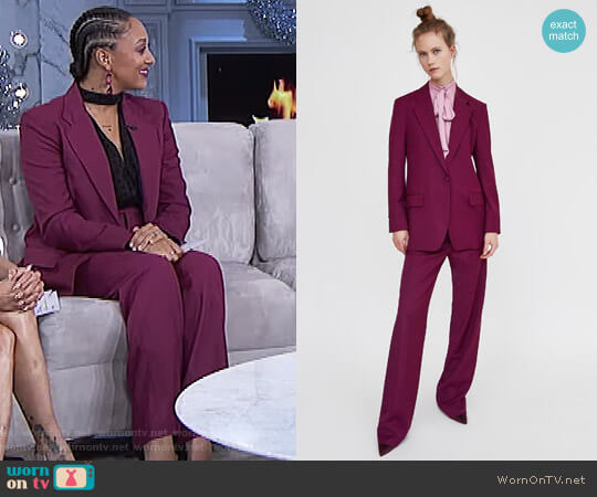 Colourful Masculine Blazer by Zara worn by Tamera Mowry  on The Real