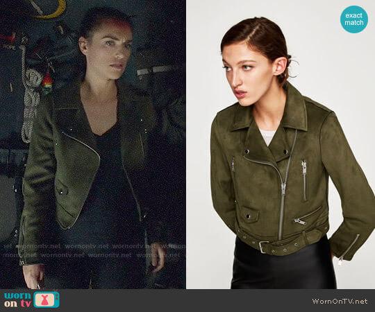 Zara Faux Suede Biker Jacket worn by Lena Luthor (Katie McGrath) on Supergirl