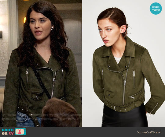 Zara Faux Suede Biker Jacket worn by Sabrina Pemberton (Sofia Black D'Elia) on The Mick