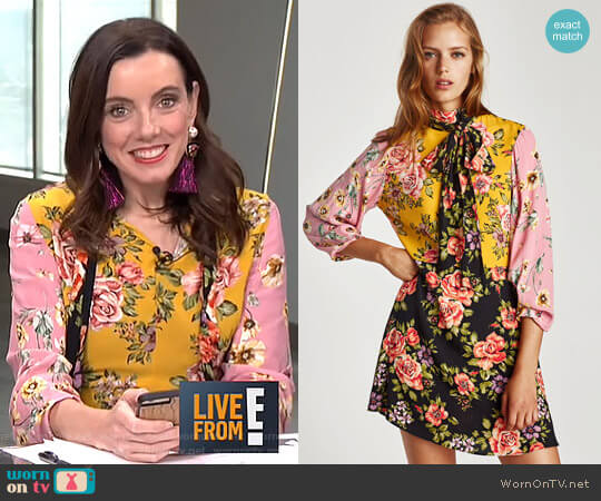 Floral Patchwork Dress by Zara worn by Melanie Bromley  on E! News